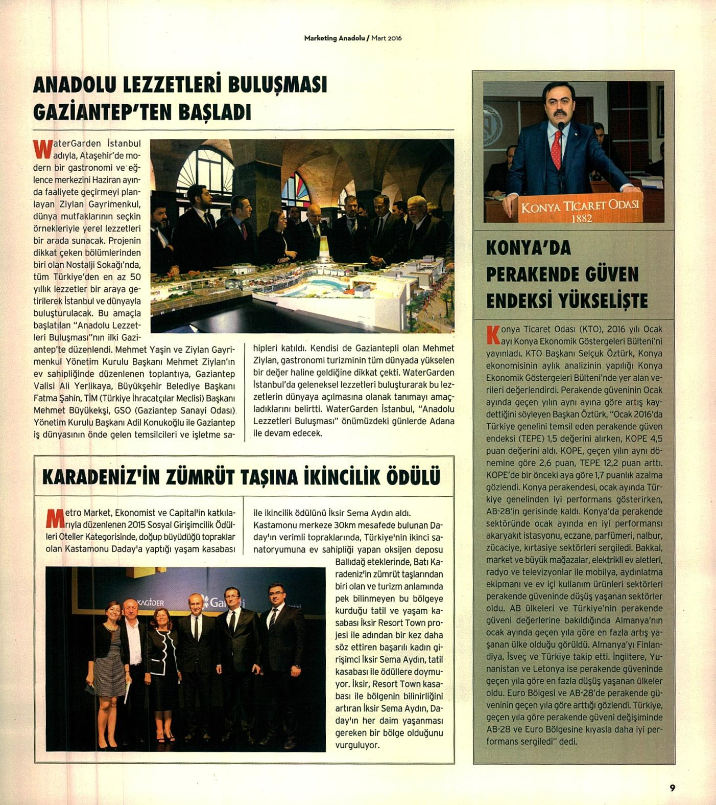 Marketing Türkiye Dergisi, Marketing Anadolu - 1 Mart 2016