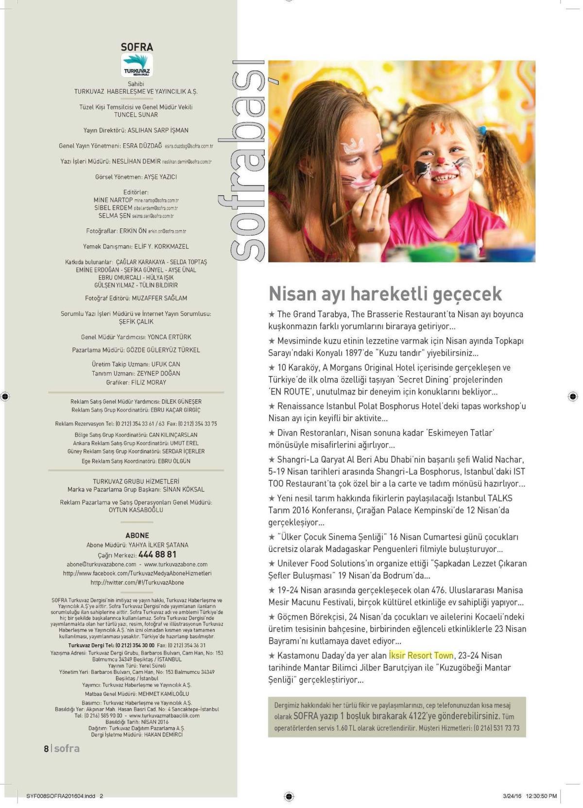 Sofra Dergisi - Nisan 2016