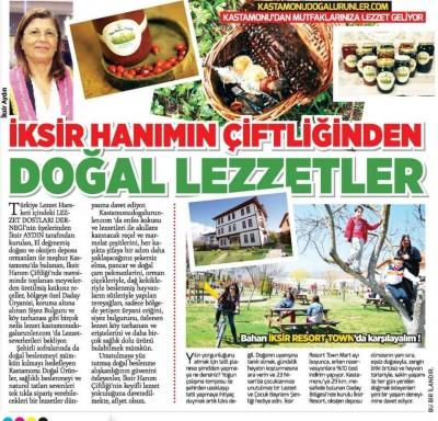 Milliyet Gazetesi – 11 Mayıs 2015 - İksir Hanım'ın Çiftliğinden Doğal Lezzetler